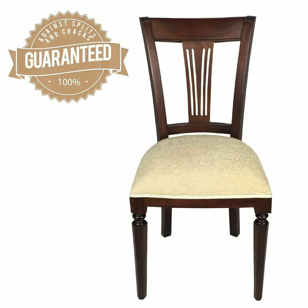 Solid mahogany wood chair antique style large optima for Styles of upholstered chairs