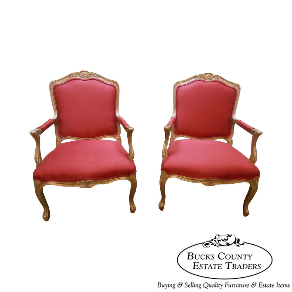 Lexington Pair Of French Louis Xv Style Open Arm Fauteuil Living Room Chairs Ebay