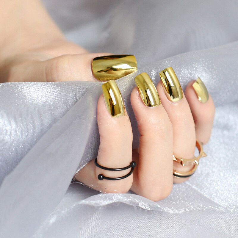 3 Sets Gold Metallic Chrome Fake Full Press On Artificial ...