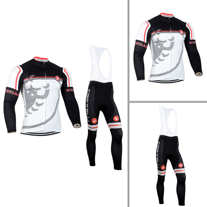 Mens Cycling Long Sleeve Outfits Jersey Bib Pants Kits Shirt Maillot Tights Set | eBay