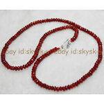 Fine 2x4mm Brazil Red Ruby Faceted Roundel Gems Beads Necklace Silver Clasp AA