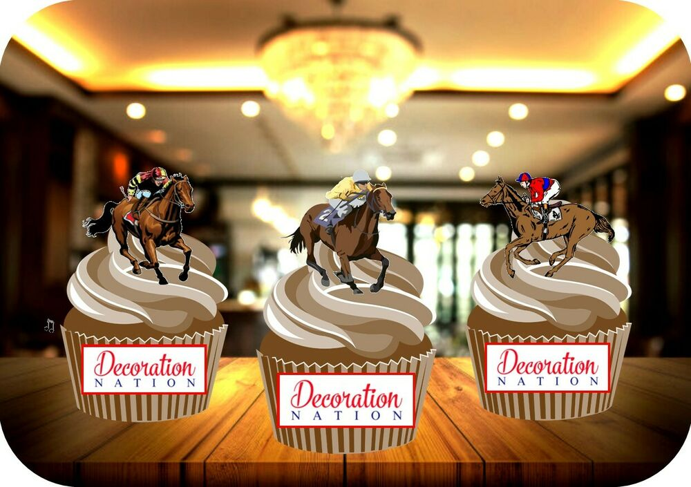 12 Novelty Horse Racing Horses Mix Edible Cake Toppers ...