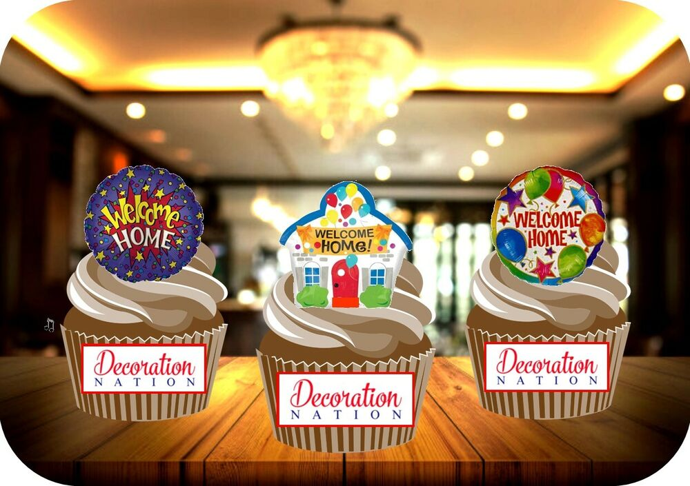 12 Novelty Welcome Home Balloons Trio Mix Edible Cake ...
