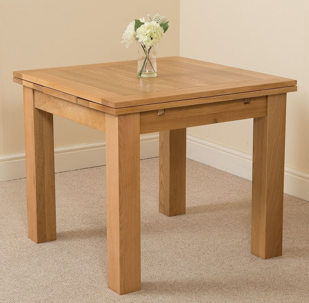 Richmond solid oak wood small 90 150cm extending dining for Oak dining room table