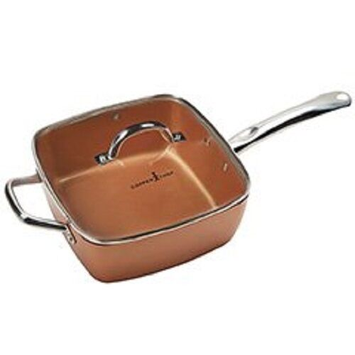 Copper Chef 4 Piece New Square Chef Pan W Glass Lid