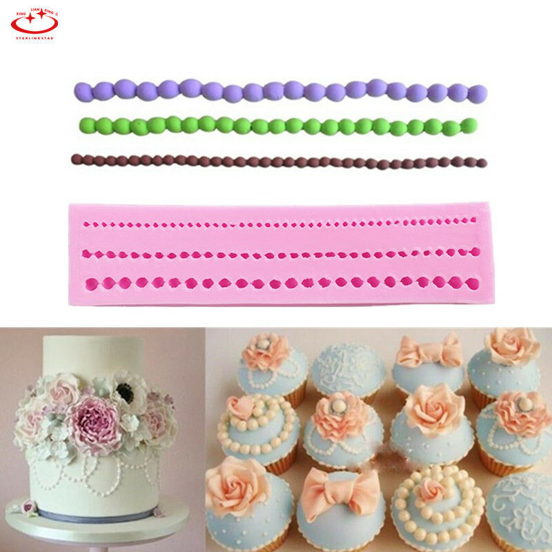 Cake Decorating Pearl Beads : Pearl String Beads Silicone Fondant Mold Cake Decorating ...