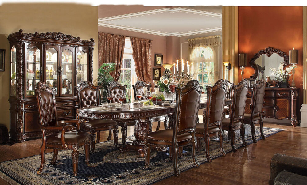 Vendome Formal Design Antique Traditional Cherry Dining Room 11-pcs Dining Set