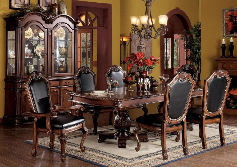 Traditional Elegant Formal Carving Finish Cherry Dining Room Set 7pc Dining S