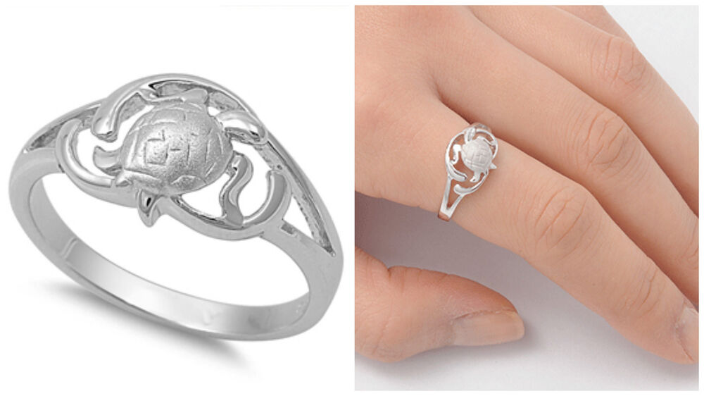 Sterling Silver Woman/'s Turtle Family Ring Polished 925 Band 10mm Sizes 4-12