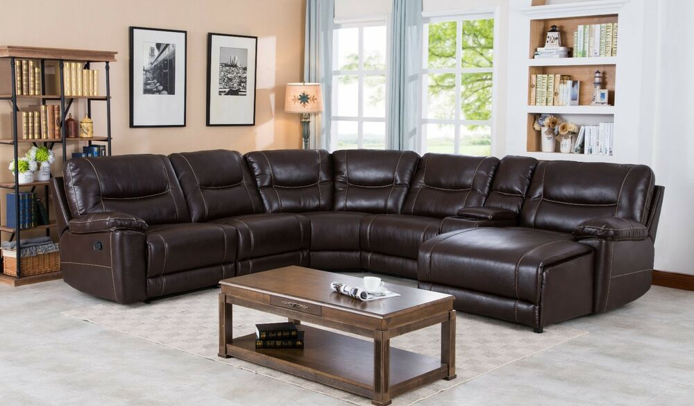 leather gel reclining sectional with push back chaise saddle brown ebay