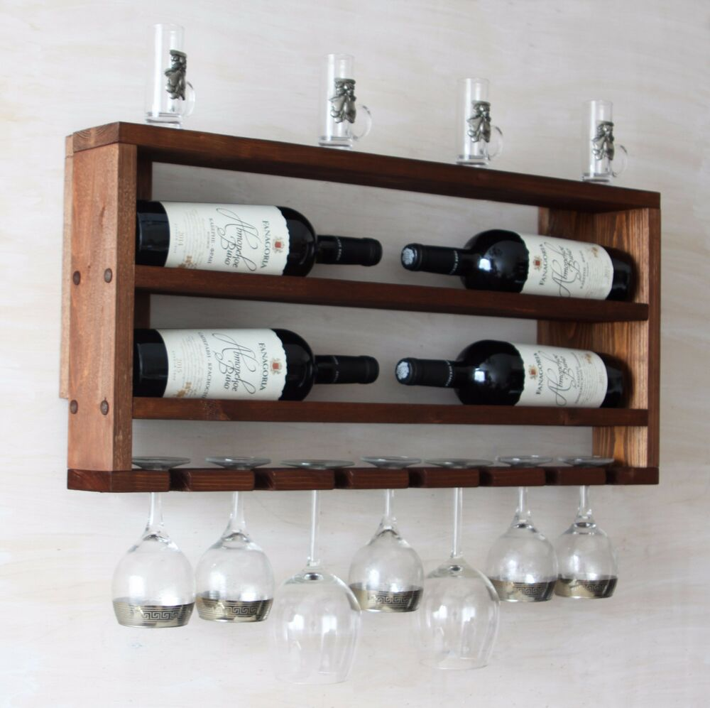 Kitchen Shelves Wall Mounted: Wine Rack Horizontal Wood Bottle Holder Kitchen Shelf