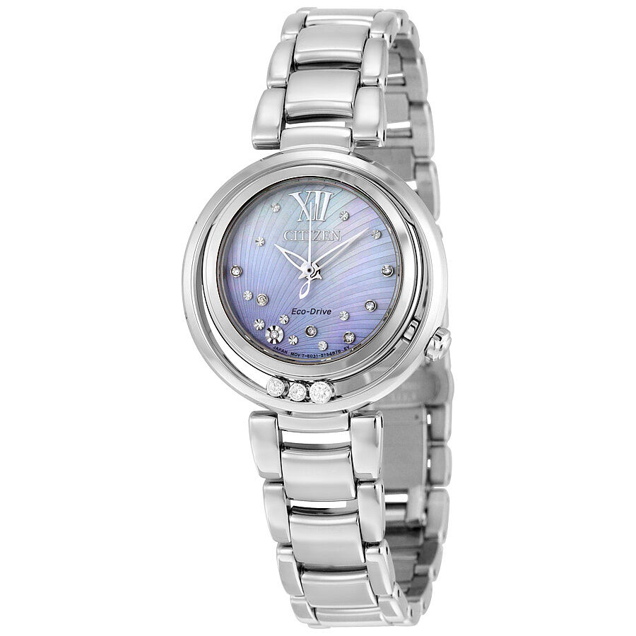 Citizen sunrise eco drive diamond dial stainless steel ladies watch em0320 59d ebay for Diamond dial watch