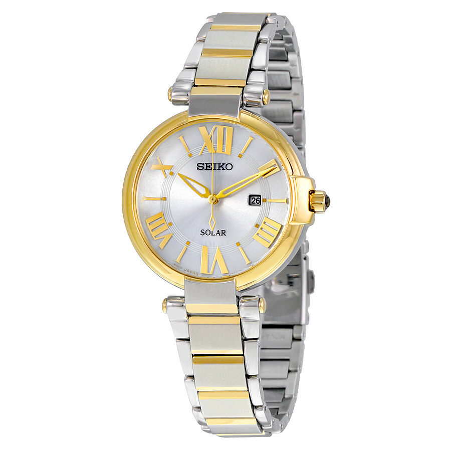 Seiko solar silver dial two tone ladies watch sut174 ebay for Solar watches