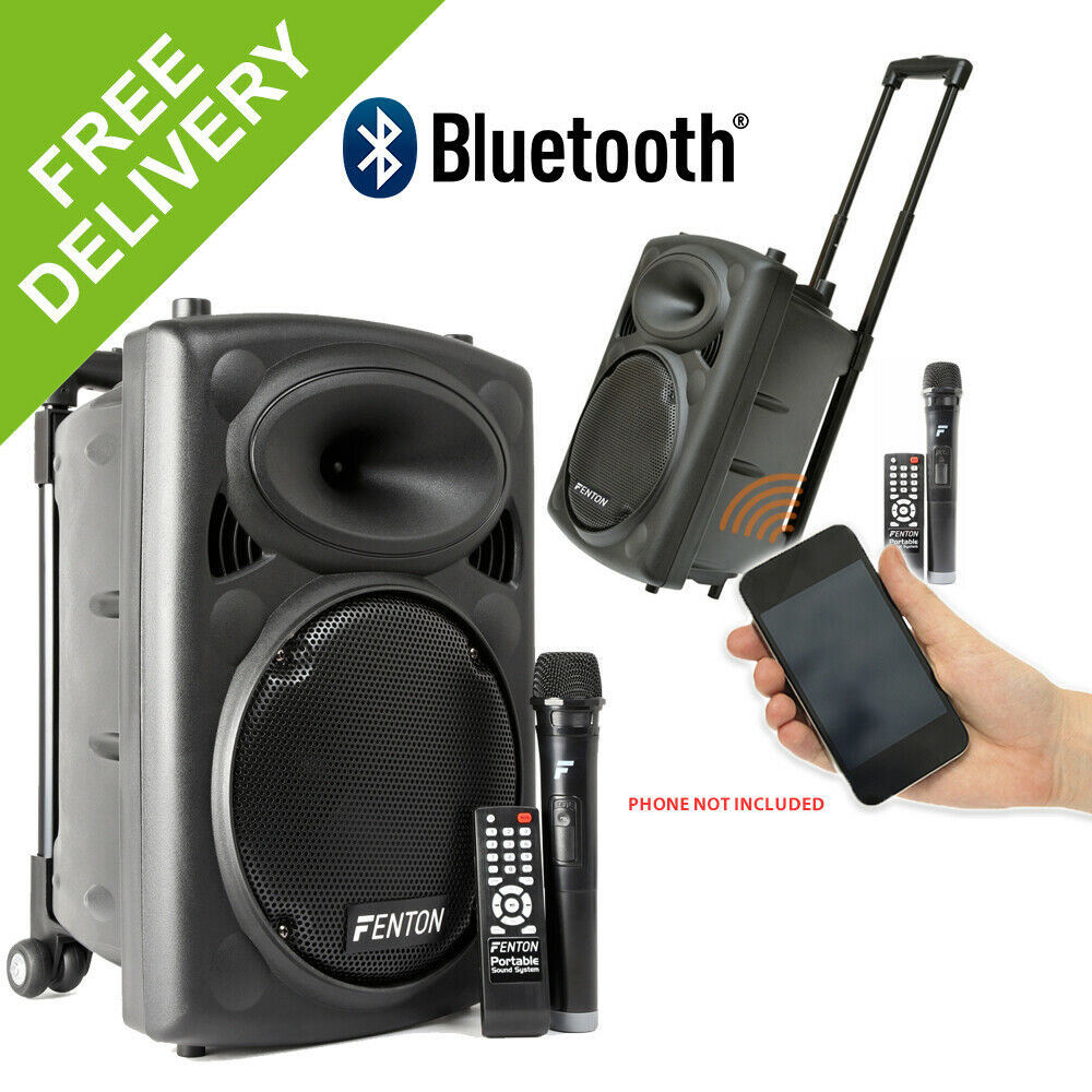 """Fenton Active Powered 10"""" Battery Wireless Bluetooth Portable PA System Wheels"""
