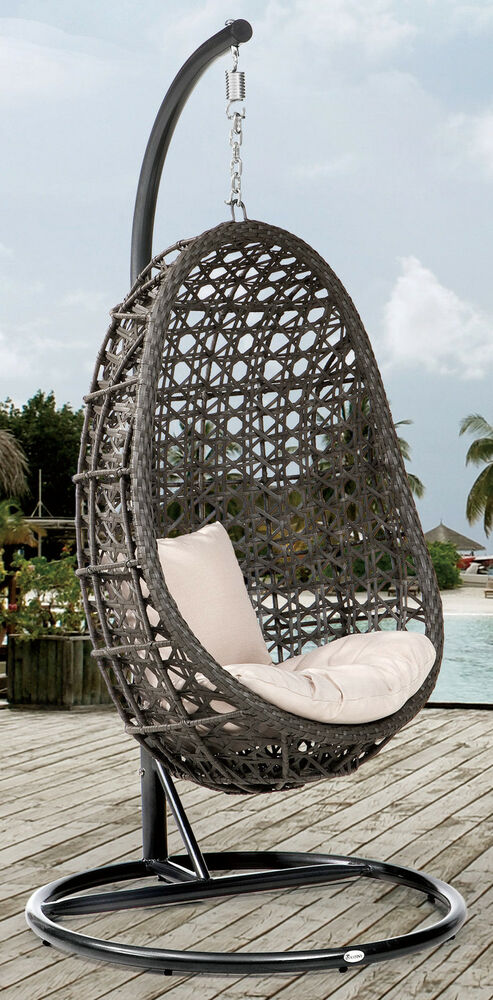 h ngesessel h ngekorb coco anthrazit schaukel polyrattan garten m bel korb ebay. Black Bedroom Furniture Sets. Home Design Ideas