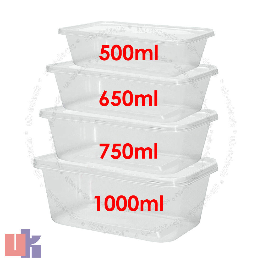 clear plastic quality containers tubs with lids microwave food safe takeaway ebay. Black Bedroom Furniture Sets. Home Design Ideas