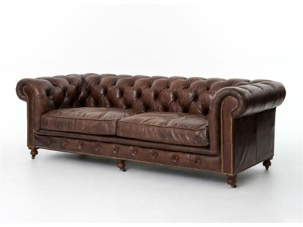 Chesterfield top grain cigar brown distressed leather button tufted sofa f ebay Leather chesterfield loveseat