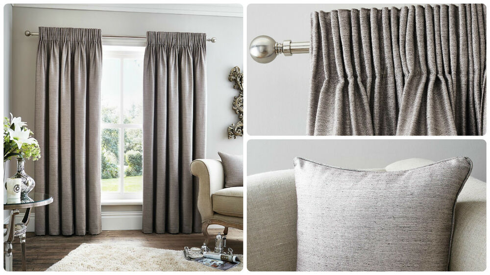 premium quality lined curtains silver grey pencil tape 66 90 108 patio living ebay ForLined Valances For Living Room