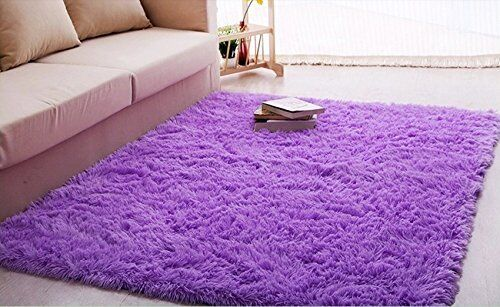Modern 5x4-Ft Light Purple Shag Thick Fiber Livingroom