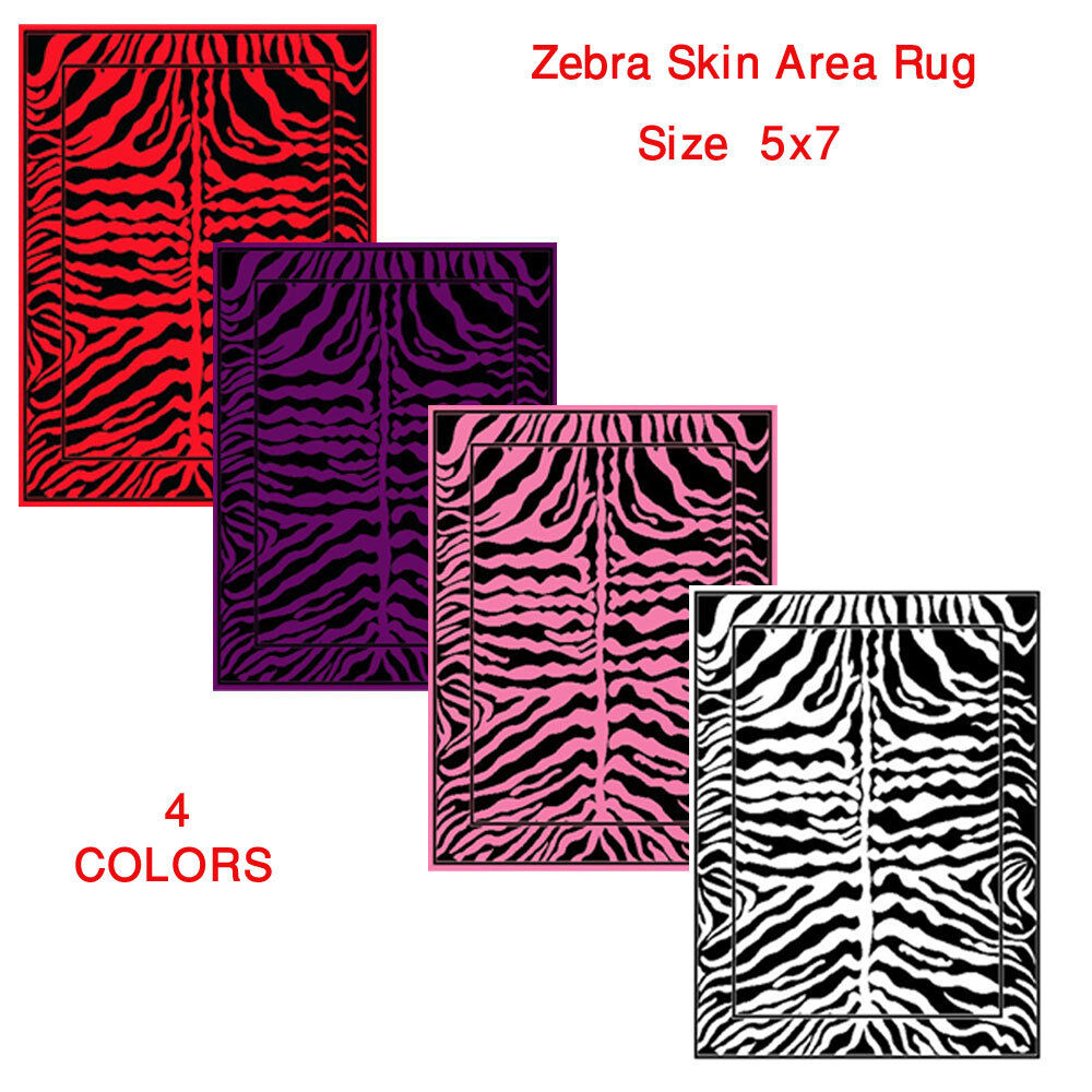 Animal Print Zebra Skin Area Rugs Exotic Striped African