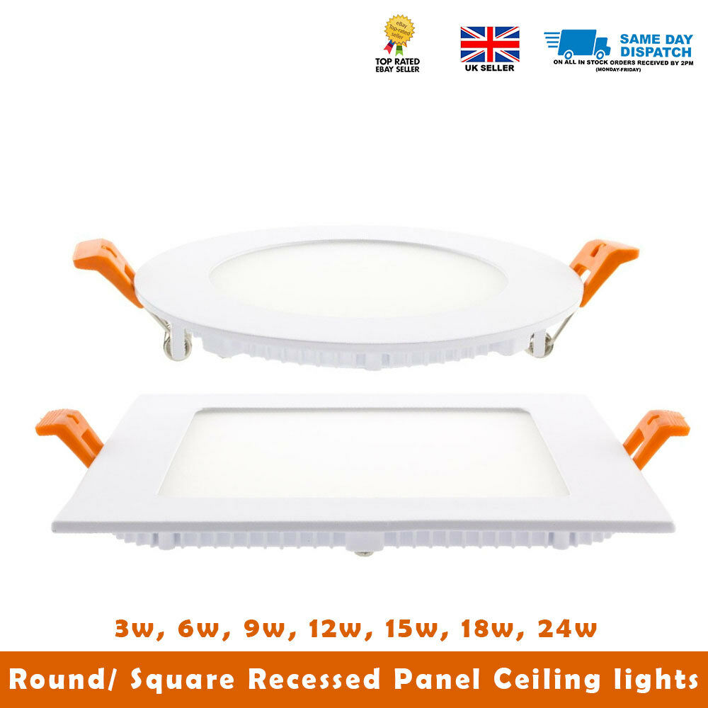 6w 12w 18w 24w Led Recessed Ceiling Flat Panel Down Light: 3W 6W 9W 12W15W 18W 24W LED ROUND/SQUARE RECESSED CEILING