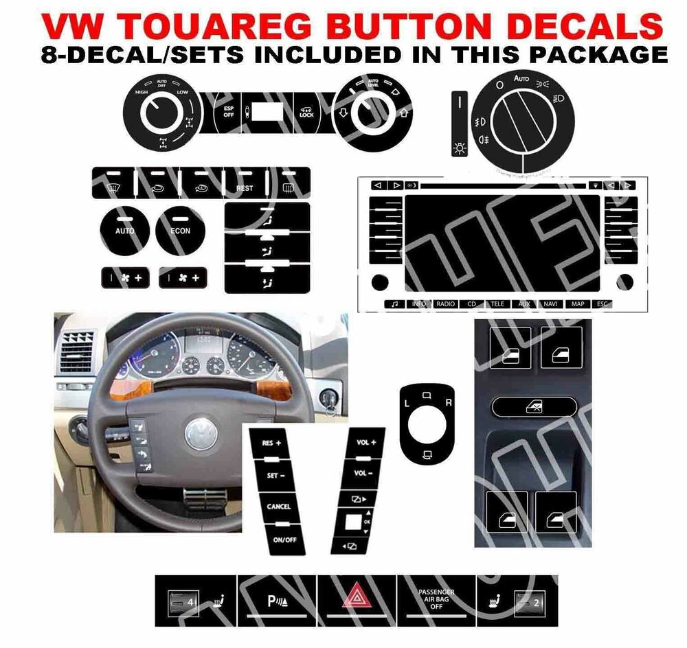 vw touareg toureg button decals stickers radio with. Black Bedroom Furniture Sets. Home Design Ideas