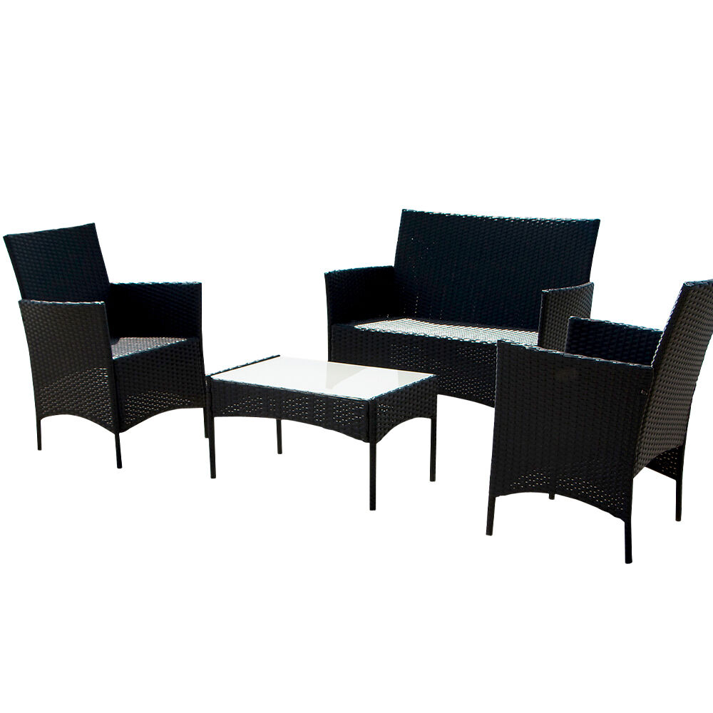 4pcs Outdoor Black Rattan Wicker Sofa Set Cushioned Garden Patio Furniture Ebay