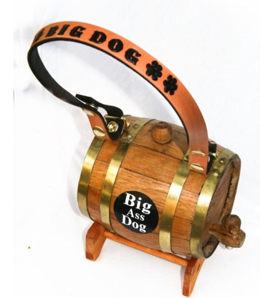 Dog With Barrel On Collar