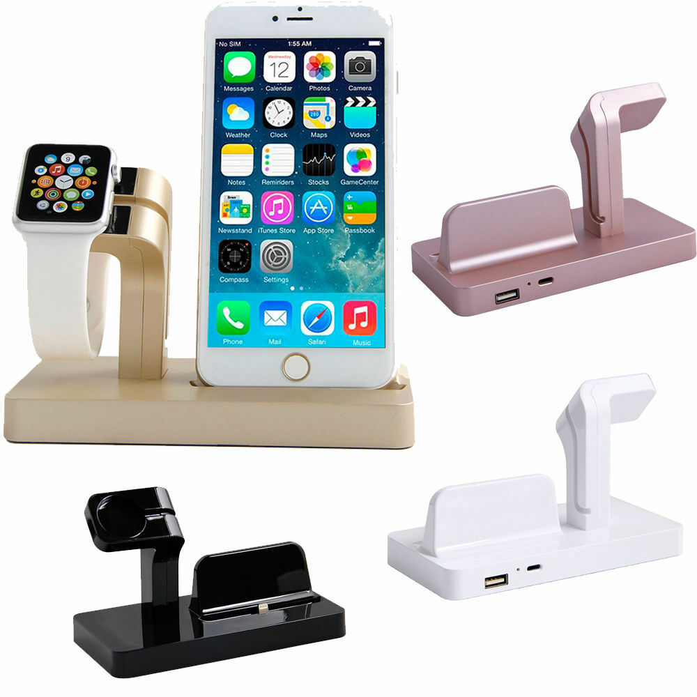charger docking station cradle charging sync dock for apple watch iphone 6 6plus ebay. Black Bedroom Furniture Sets. Home Design Ideas