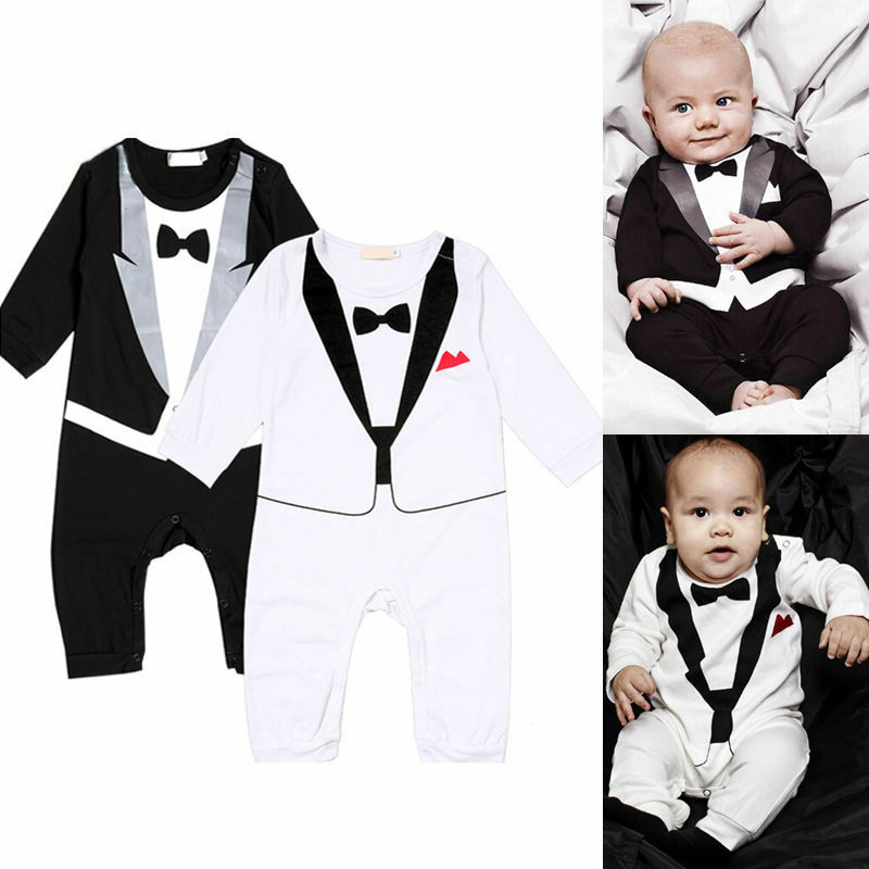 jungen kinder baby smoking overall anzug strampler kleidung mit druck fliege neu ebay. Black Bedroom Furniture Sets. Home Design Ideas