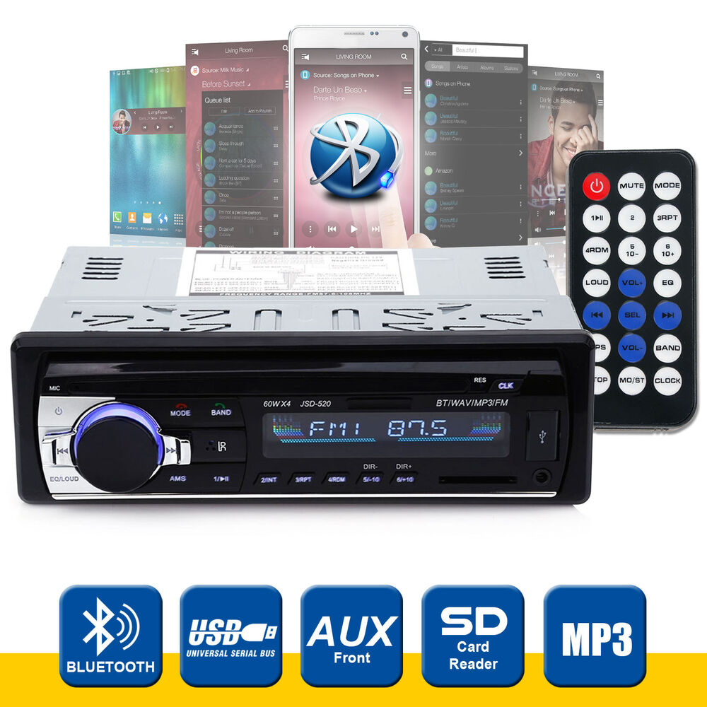bluetooth car radio stereo head unit player mp3 usb sd aux. Black Bedroom Furniture Sets. Home Design Ideas