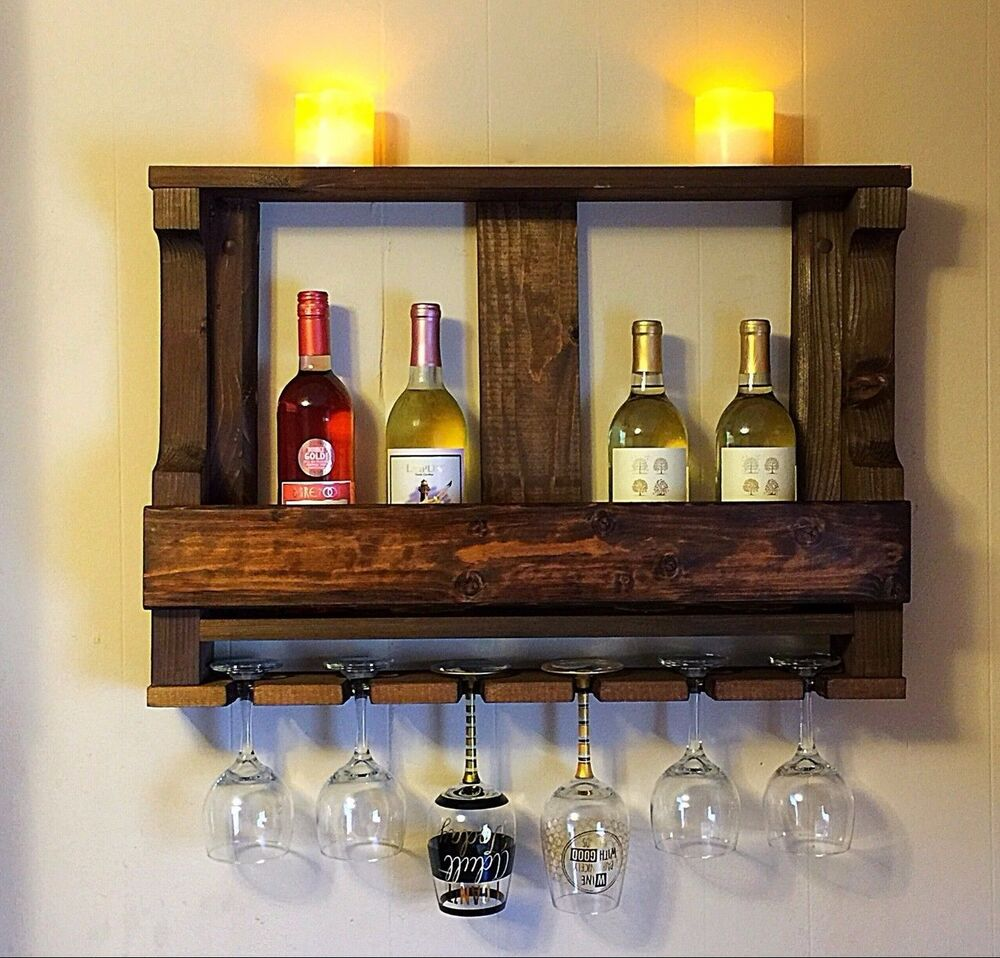Handmade Rustic Wood Wine Rack Wall Mounted Kitchen Shelf