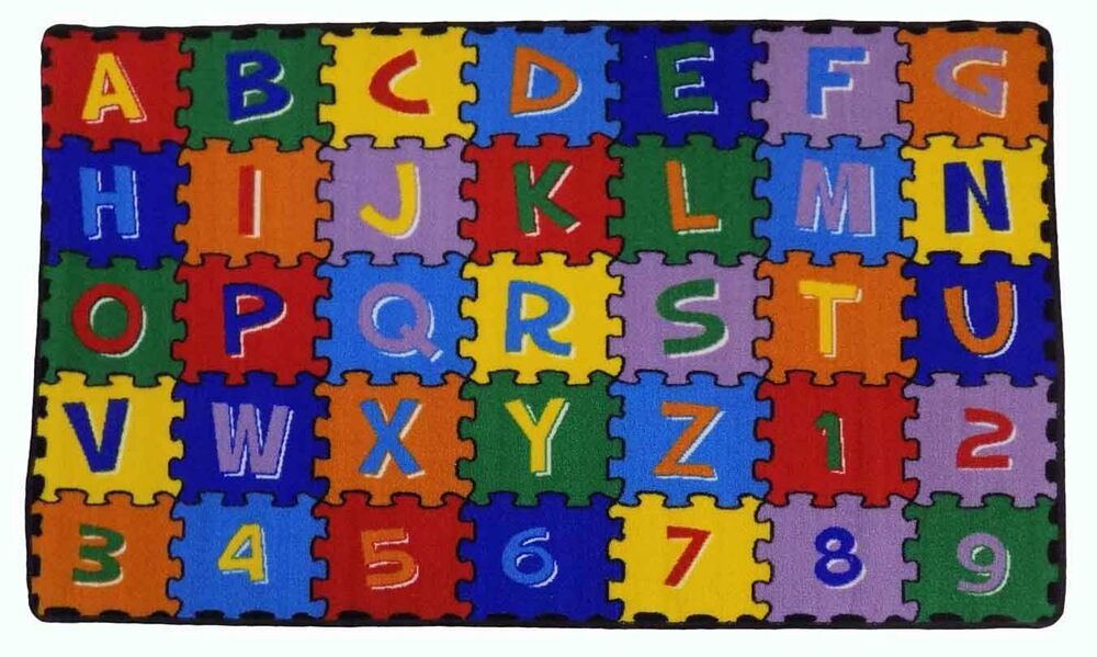 Large Clroom Rugs For Kids Alphabet Puzzle Area Rug New Design 2017 Ebay