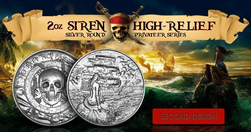 2 Oz Silver Privateer 2 Silver Siren Ultra High Relief