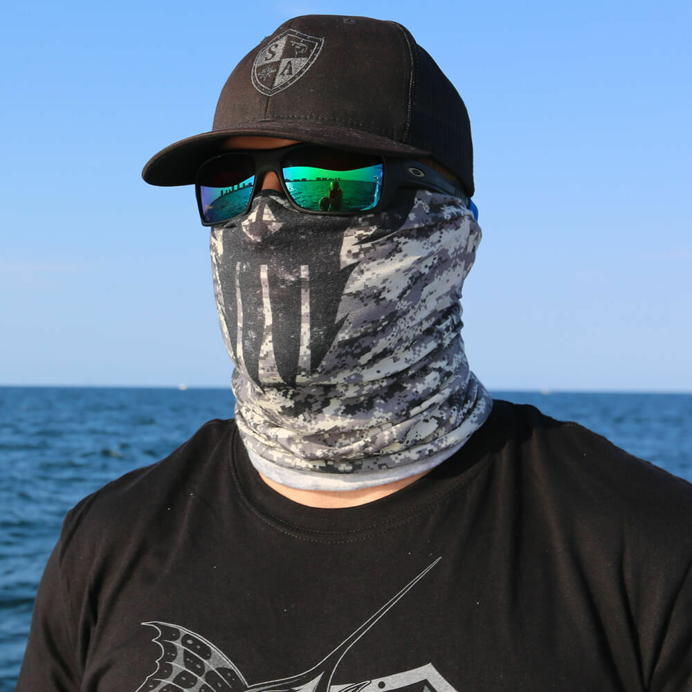 Salt armour sa grey sinister skull face shield sun mask for Sa fishing face shield