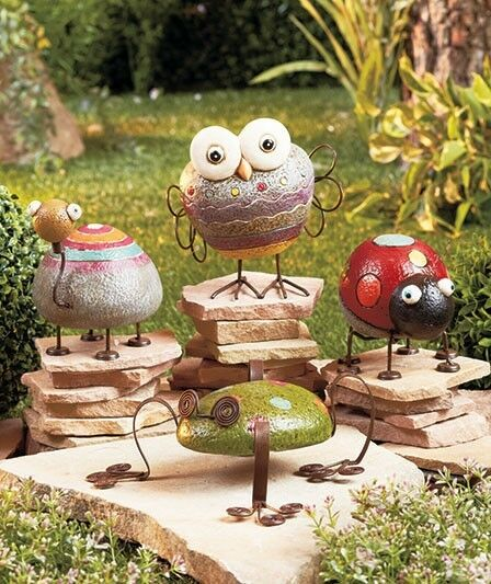 Rock garden friends whimsical garden statues ornamens for Whimsical garden statues