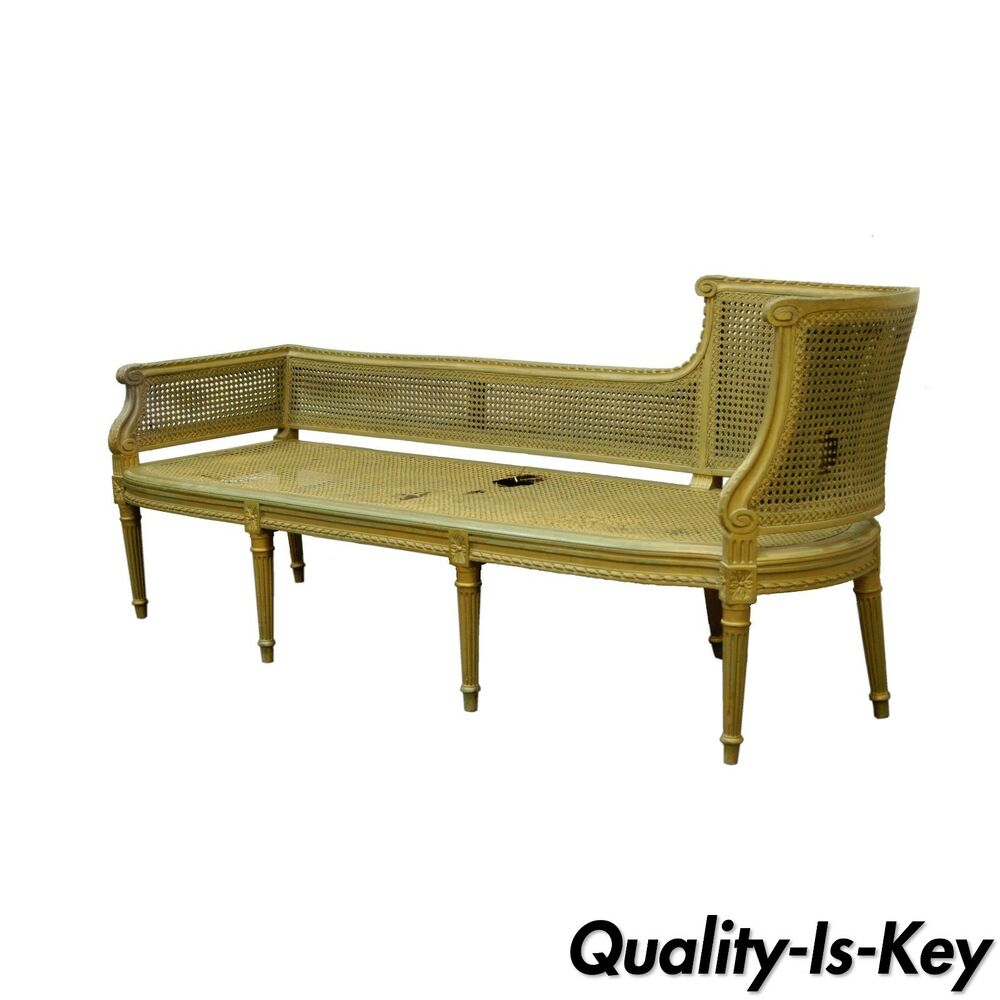 Antique french louis xvi style caned chaise lounge for Sofa recamiere