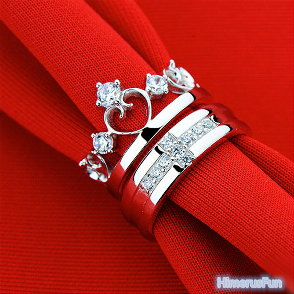 Surprise Wedding Gift For His Queen Watch The Bride S: Queen Crown Cross Silver Couple Rings Wedding Band His And