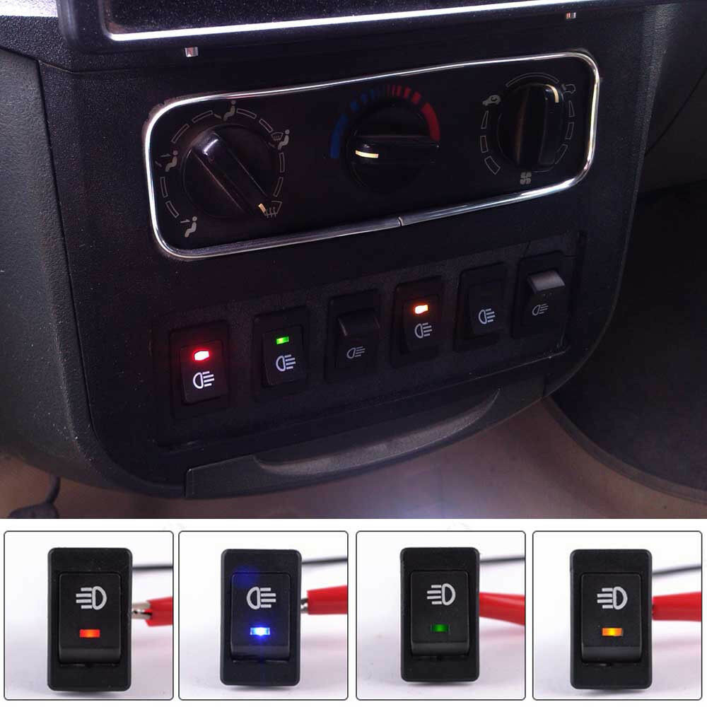 Lamp Bar Switch: 4Pins LED On/Off Indicator Rocker Toggle Switch Driving