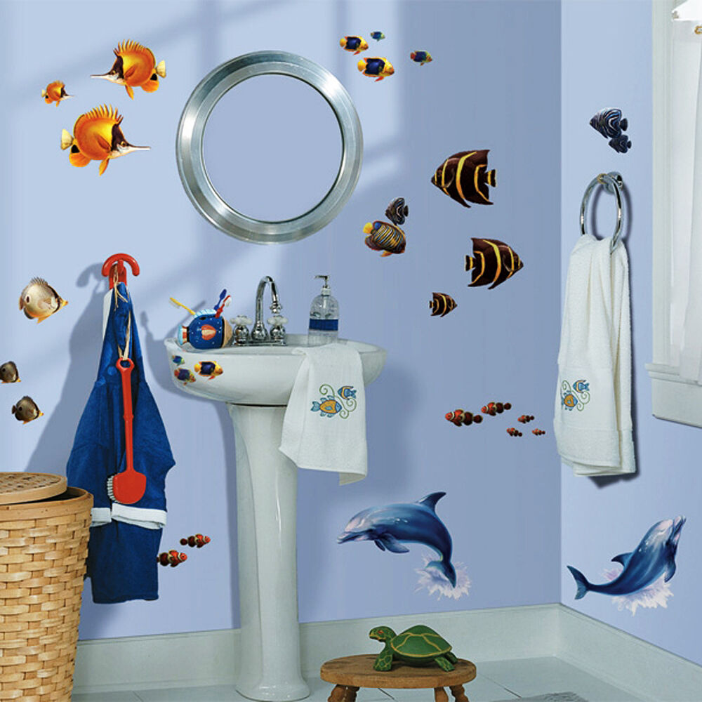 roommates wandsticker fische delfine bad fliesen deko unterwasserwelt delfin ebay. Black Bedroom Furniture Sets. Home Design Ideas