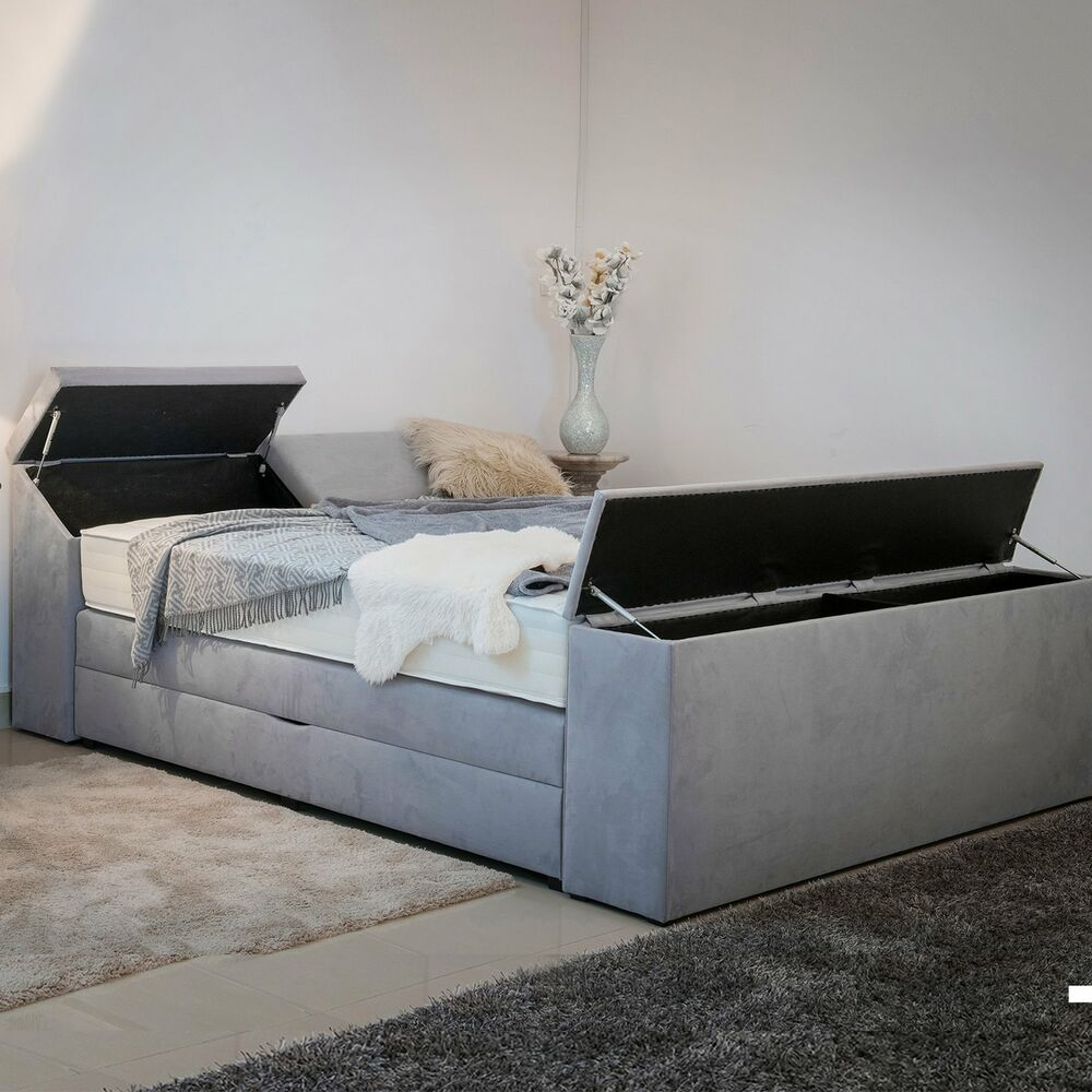 boxspringbett mit bettkasten 5 x stauraum 180x200 farbwahl matratzen h2 h3 h4 ebay. Black Bedroom Furniture Sets. Home Design Ideas
