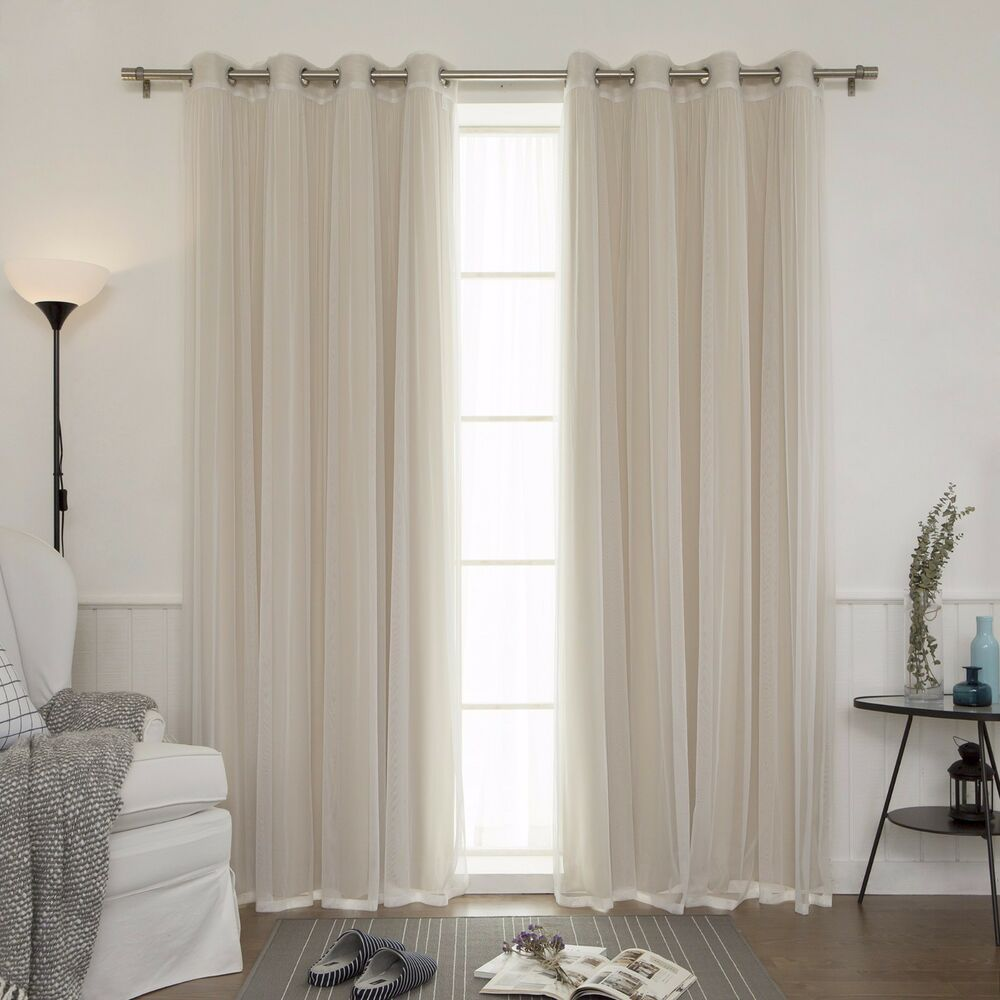 Set 4 Panels Blackout Sheer Grommet Tulle Lace Curtains