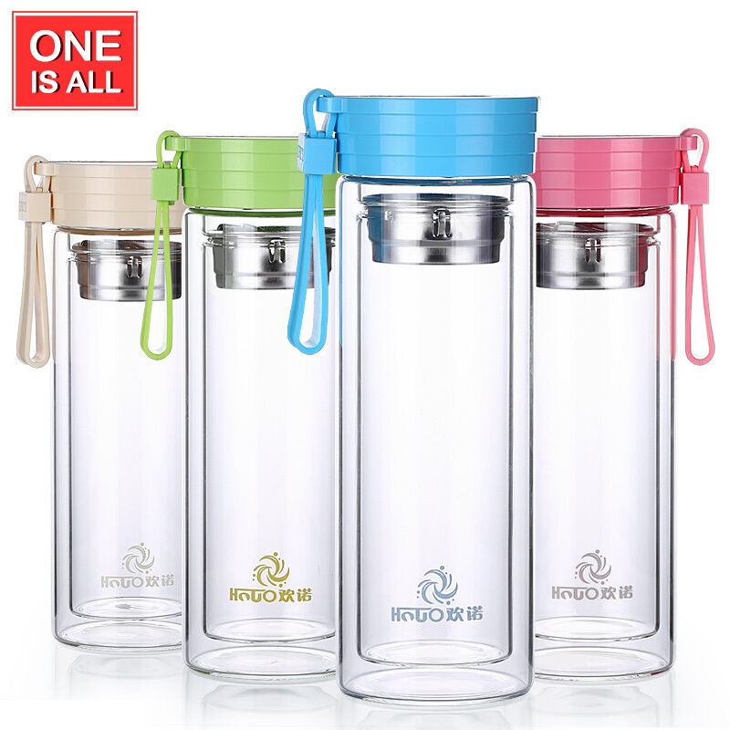 Hnuo Portable Double Wall Glass Water Bottle Travel Mug