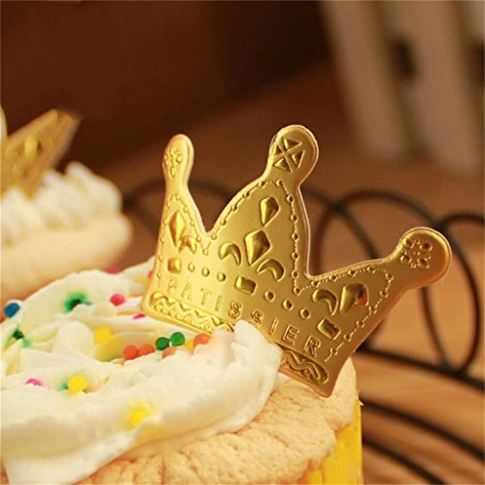Yunko 95 pcs golden crown cupcake toppers cake decoration for 95 decoration