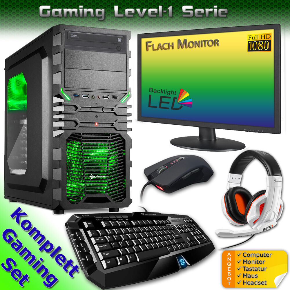 pc gaming set computer monitor tastatur maus headset rechner komplett windows 7 ebay. Black Bedroom Furniture Sets. Home Design Ideas