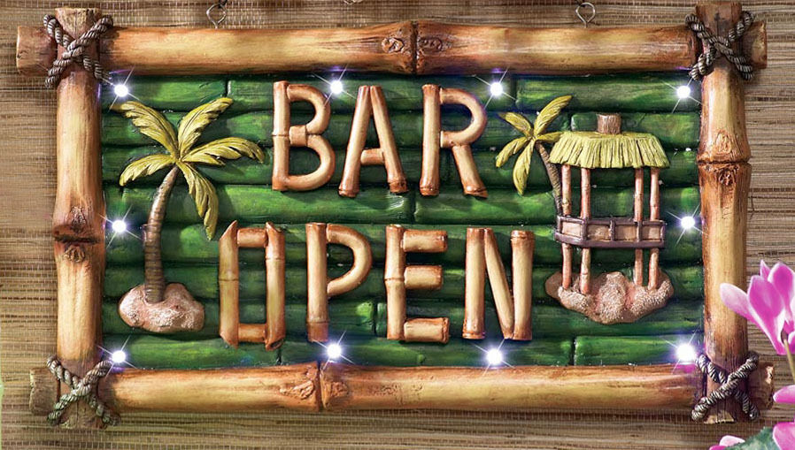 Tiki Bar Open Lighted Sign Luau Pool Party Wall Decor Bamboo Look Hanging Plaque Ebay