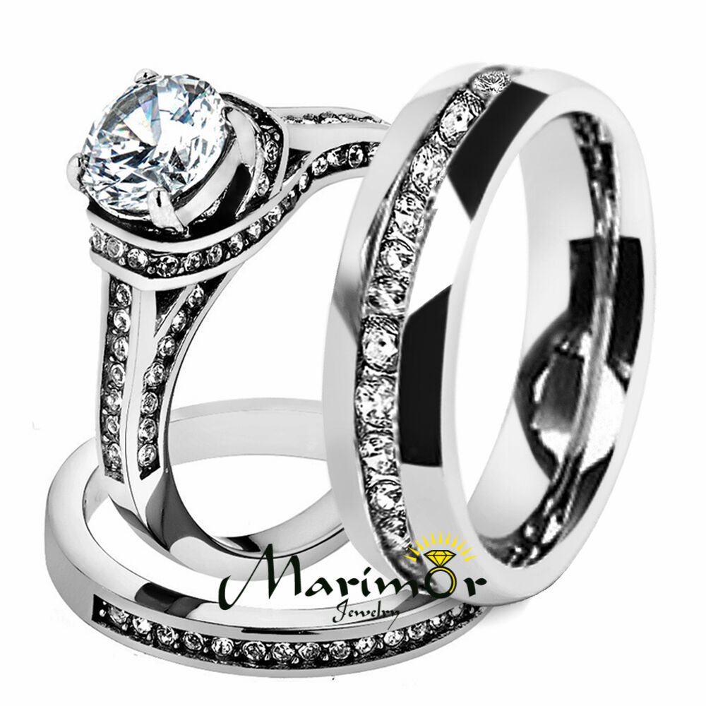hers his stainless steel 3 cz wedding ring set and