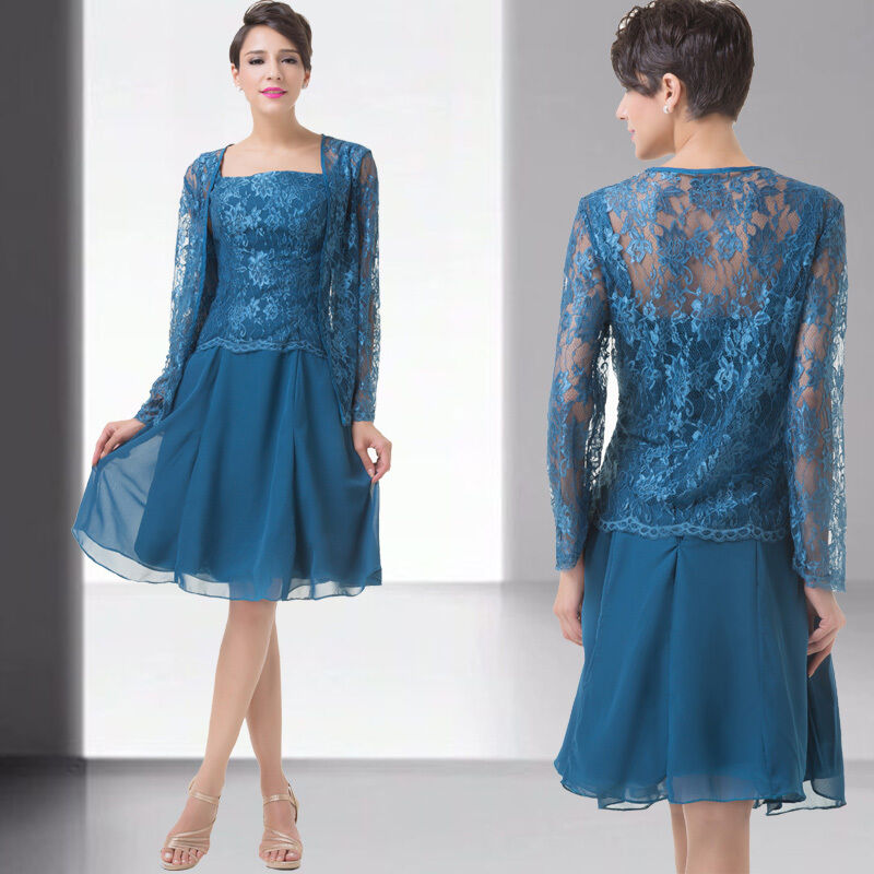 Free Jacket Short Lace Mother of the Bride Outfit Evening Formal Dress ...