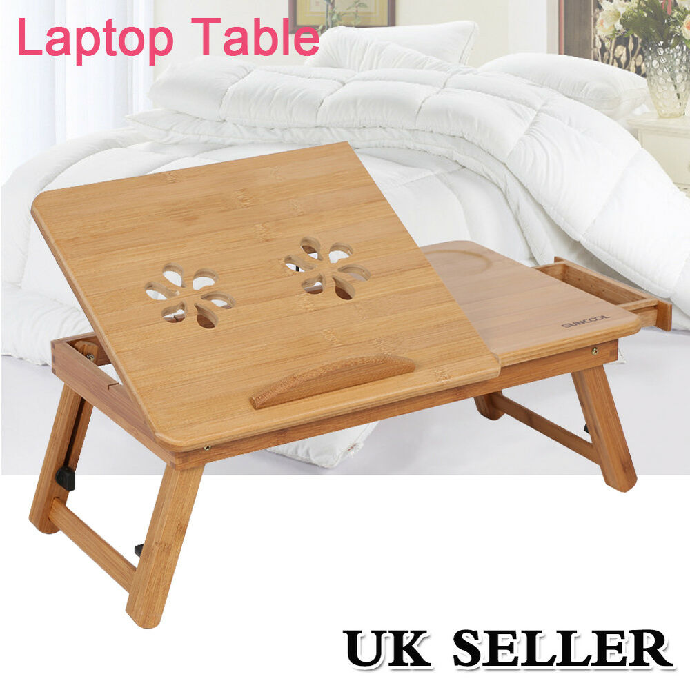 Portable Bamboo Laptop Notebook Computer Desk Bed Tray