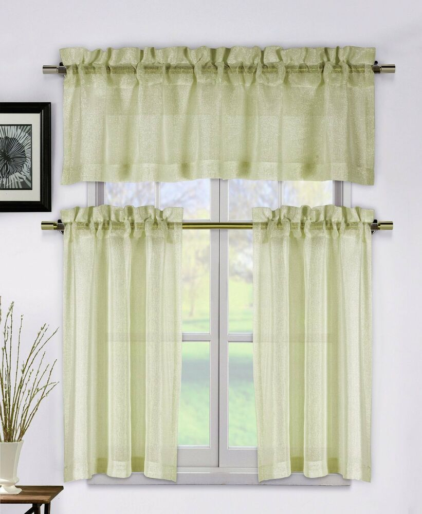 Metallico Taupe Tan Beige 3 Piece Kitchen Window Curtain